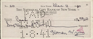 KEENAN WYNN - AUTOGRAPHED SIGNED CHECK 12/02/1940
