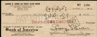 GEORGE BURNS - AUTOGRAPHED SIGNED CHECK 12/02/1942 CO-SIGNED BY: DAVID KLEIN, PAUL POPS WHITEMAN