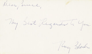 RAY BLOCH - AUTOGRAPH NOTE SIGNED