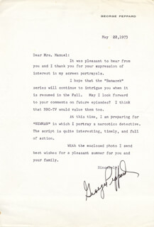 GEORGE PEPPARD - TYPED LETTER SIGNED 05/22/1973