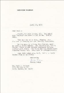 GEORGE BURNS - TYPED LETTER SIGNED 04/29/1983