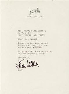 JACK WEBB - TYPED LETTER SIGNED 07/13/1973