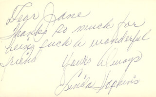 LINDA HOPKINS - AUTOGRAPH NOTE SIGNED