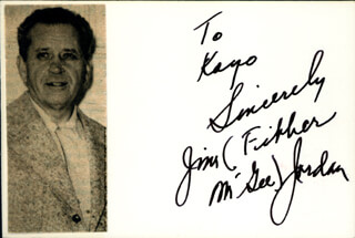JIM FIBBER MC GEE JORDAN - AUTOGRAPH NOTE SIGNED