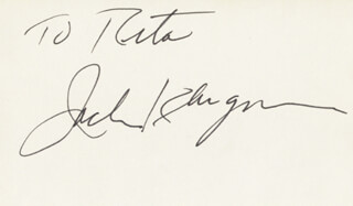 JACK KLUGMAN - INSCRIBED SIGNATURE
