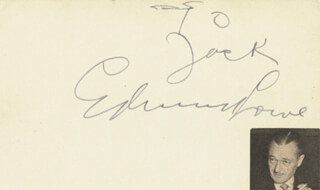 EDMUND LOWE - INSCRIBED CARD SIGNED