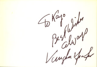 VAUGHN MEADER - AUTOGRAPH NOTE SIGNED