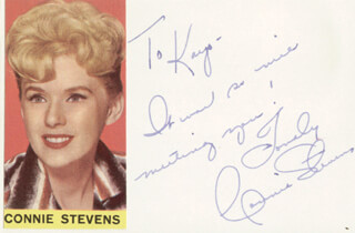 CONNIE STEVENS - INSCRIBED SIGNATURE