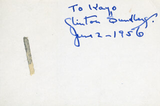 CLINTON SUNDBERG - INSCRIBED SIGNATURE 06/02/1956