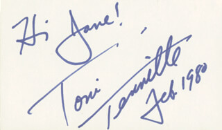 CAPTAIN & TENNILLE (TONI TENNILLE) - AUTOGRAPH NOTE SIGNED 2/1980