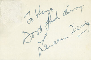 LAWRENCE TIERNEY - AUTOGRAPH NOTE SIGNED