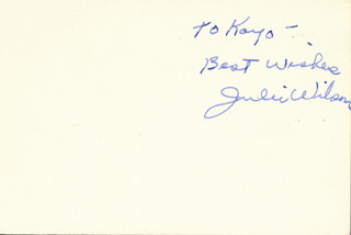 JULIE WILSON - AUTOGRAPH NOTE SIGNED