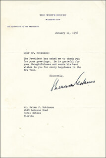SHERMAN THE ICEBERG ADAMS - TYPED LETTER SIGNED 01/11/1956