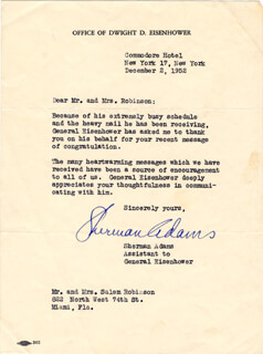 Autographs: SHERMAN THE ICEBERG ADAMS - TYPED LETTER SIGNED 12/02/1952