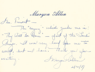 Autographs: MARYON ALLEN - AUTOGRAPH NOTE SIGNED 02/16/1979