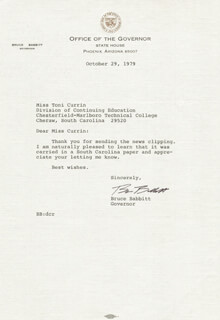 Autographs: GOVERNOR BRUCE E. BABBITT - TYPED LETTER SIGNED 10/29/1979