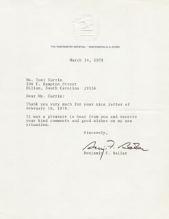 Autographs: BENJAMIN FRANKLIN BAILAR - TYPED LETTER SIGNED 03/14/1978