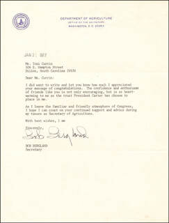 Autographs: ROBERT BOB BERGLAND - TYPED LETTER SIGNED 01/31/1977