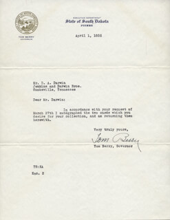 GOVERNOR TOM BERRY - TYPED LETTER SIGNED 04/01/1935
