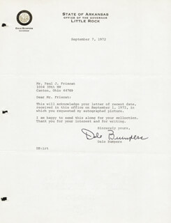 GOVERNOR DALE BUMPERS - TYPED LETTER SIGNED 09/07/1972
