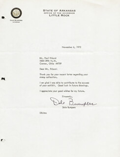 GOVERNOR DALE BUMPERS - TYPED LETTER SIGNED 11/06/1972