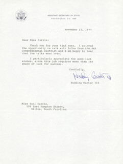 HODDING CARTER III - TYPED LETTER SIGNED 11/15/1977