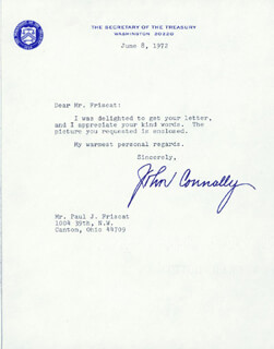 Autographs: JOHN B. CONNALLY JR. - TYPED LETTER SIGNED 06/08/1972
