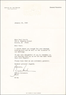 DIANNE FEINSTEIN - TYPED LETTER SIGNED 01/28/1980