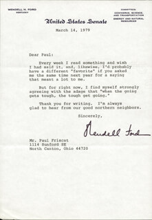GOVERNOR WENDELL H. FORD - TYPED LETTER SIGNED 03/14/1979