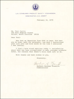 Autographs: BARBARA FRANKLIN - TYPED LETTER SIGNED 02/16/1979