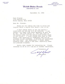 GARY HART - TYPED LETTER SIGNED 09/10/1984
