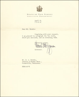 GOVERNOR HAROLD HOFFMAN - TYPED LETTER SIGNED 04/06/1935