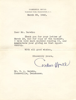 CORDELL HULL - TYPED LETTER SIGNED 03/29/1948
