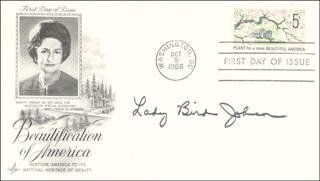 FIRST LADY LADY BIRD JOHNSON - FIRST DAY COVER SIGNED