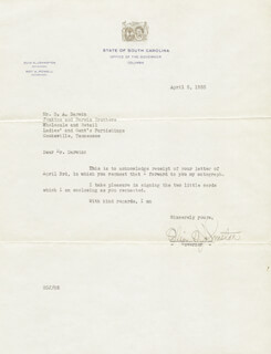 GOVERNOR OLIN D. JOHNSTON - TYPED LETTER SIGNED 04/05/1935