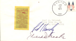 EDWARD TED KENNEDY - ENVELOPE SIGNED CIRCA 1974 CO-SIGNED BY: EDWARD W. BROOKE III
