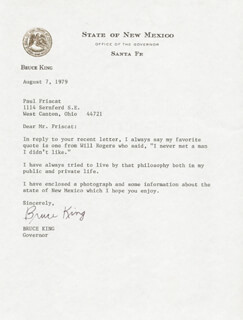 BRUCE KING - TYPED LETTER SIGNED 08/07/1979