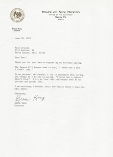 BRUCE KING - TYPED LETTER SIGNED 06/20/1979