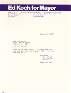 ED KOCH - TYPED LETTER SIGNED 10/14/1977