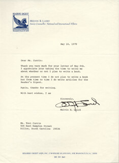 MELVIN R. LAIRD - TYPED LETTER SIGNED 05/16/1978