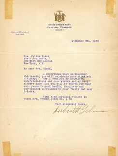 GOVERNOR HERBERT H. LEHMAN - TYPED LETTER SIGNED 12/09/1939