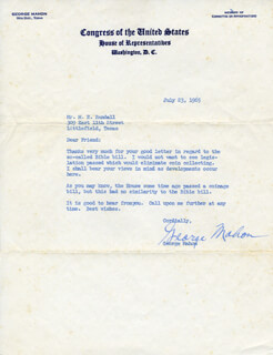GEORGE MAHON - TYPED LETTER SIGNED 07/23/1965