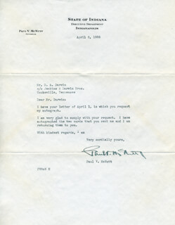 GOVERNOR PAUL V. MCNUTT - TYPED LETTER SIGNED 04/08/1935