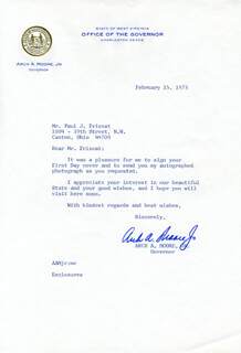 GOVERNOR ARCH A. MOORE JR. - TYPED LETTER SIGNED 02/15/1973