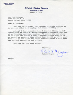 ROBERT MORGAN - TYPED LETTER SIGNED 04/06/1979