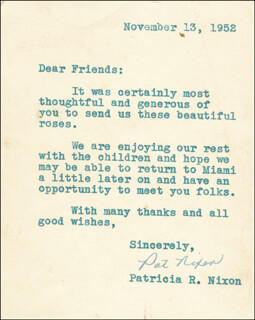 FIRST LADY PATRICIA R. NIXON - TYPED LETTER SIGNED 11/13/1952