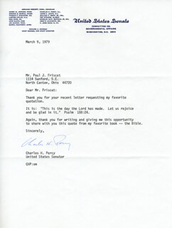 CHARLES H. PERCY - TYPED LETTER SIGNED 03/09/1979
