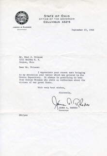 JAMES A. RHODES - TYPED LETTER SIGNED 09/27/1966