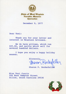 SHARON P. ROCKEFELLER - TYPED LETTER SIGNED 12/09/1977