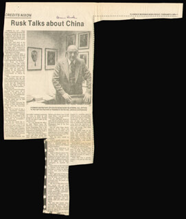 Autographs: DEAN RUSK - NEWSPAPER PHOTOGRAPH SIGNED 02/09/1979